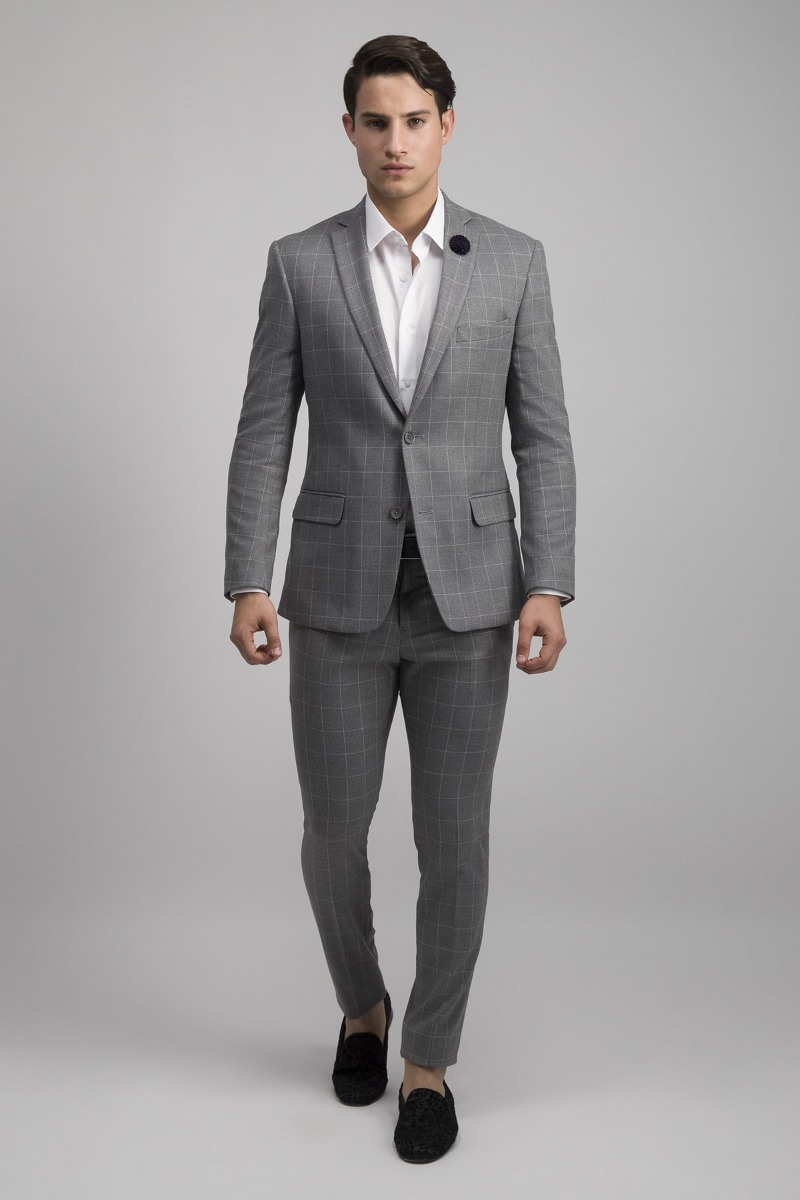 TRAJE COLOR GRIS SKINNY FIT A CUADROS