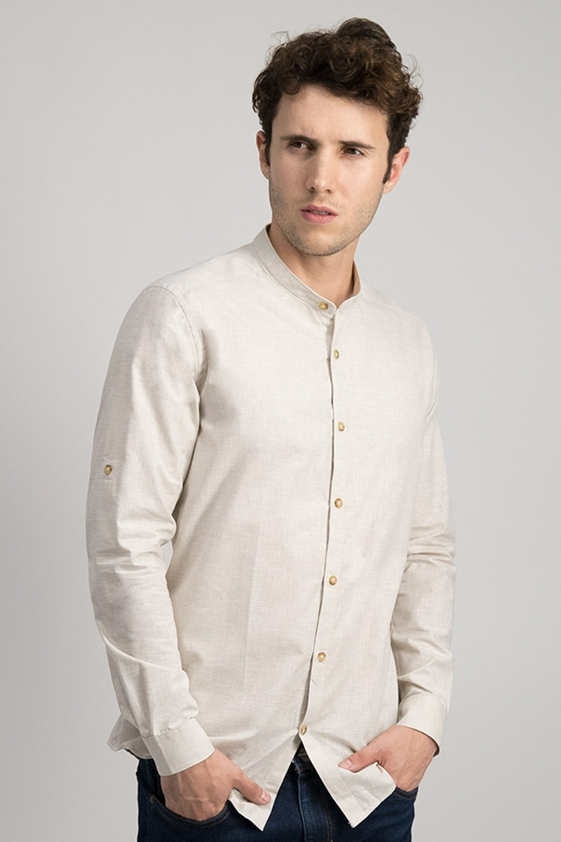 CAMISA CASUAL SLIM FIT BEIGE MEDIO