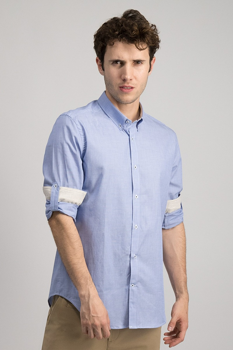 CAMISA CASUAL SLIM FIT AZÚL MEDIO