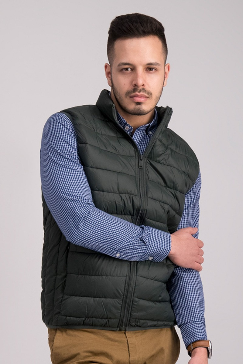 CHALECO VERDE OSCURO - SLIM FIT