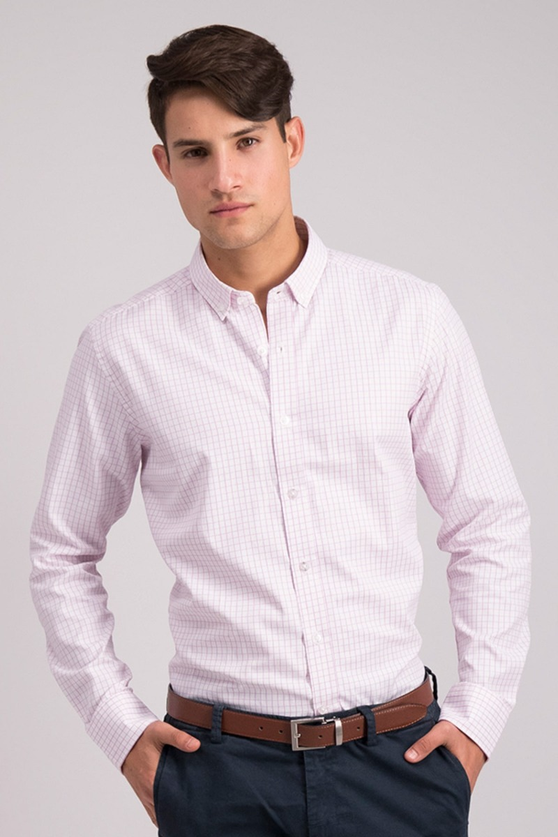 CAMISA ROSA A CUADROS - CASUAL SLIM FIT