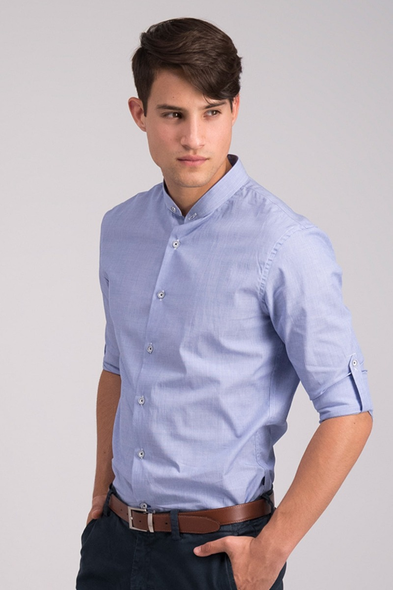 CAMISA LISA AZUL - CASUAL SLIM FIT