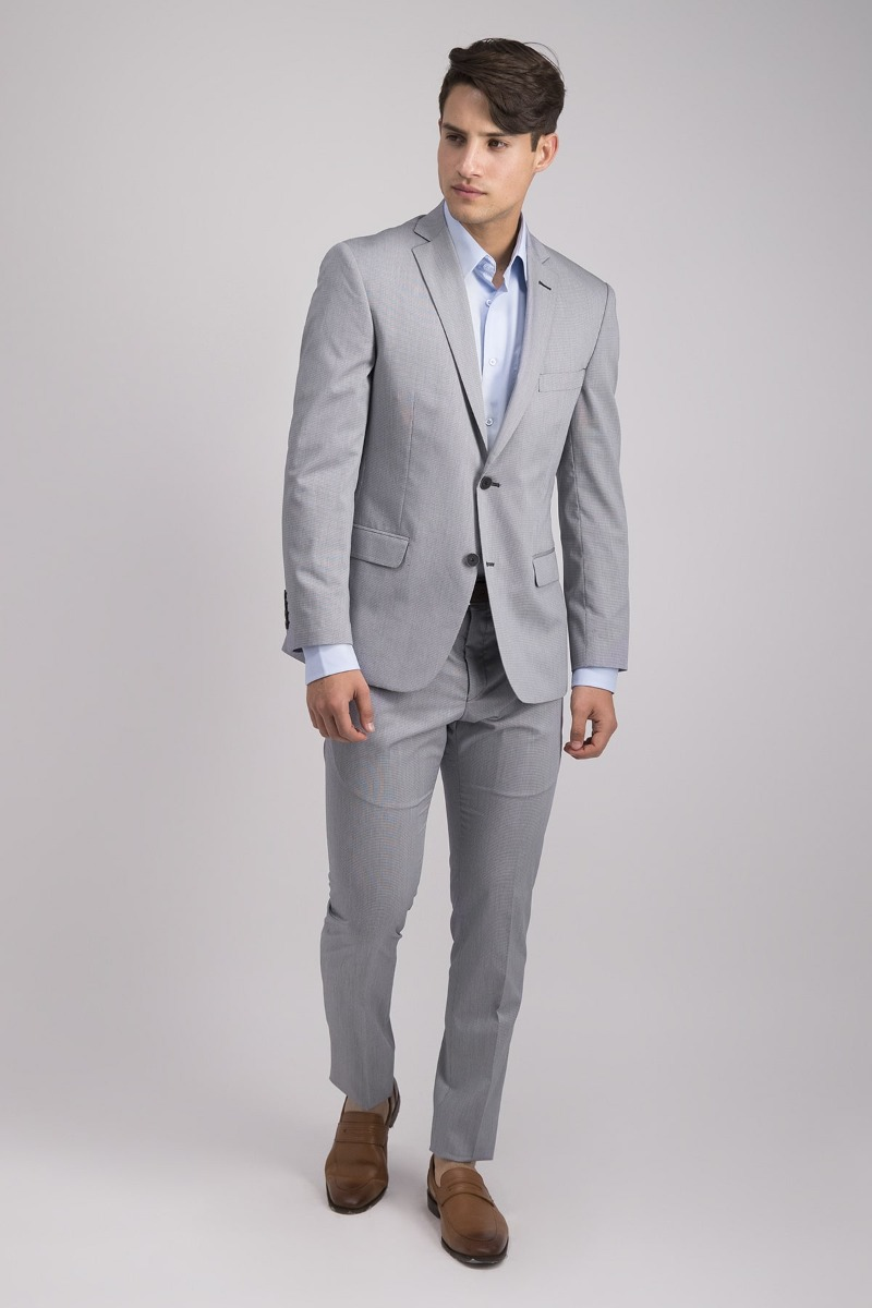 TRAJE SLIM FIT COLOR GRIS CLARO
